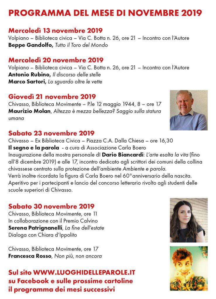 I Luoghi delle Parole 2019 - Programma Eventi Novembre