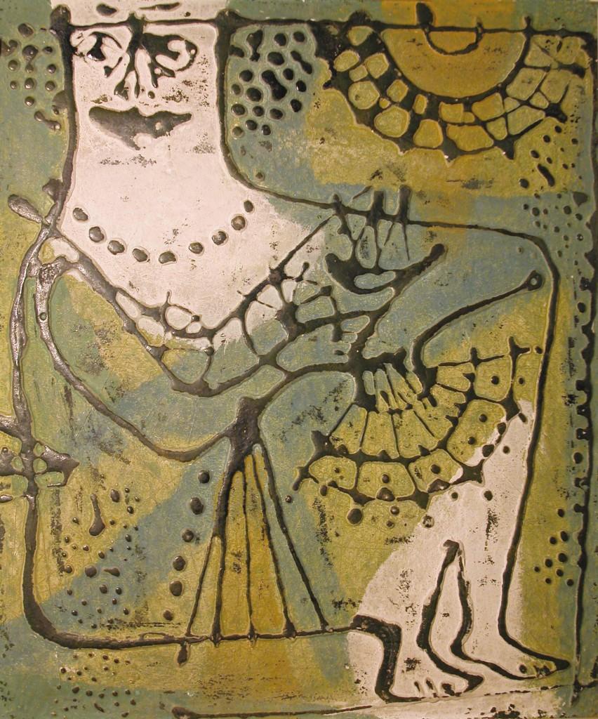 Donna al sole, colla gesso e inchiostro tipografico su tavola 52x42