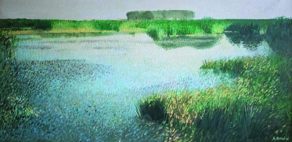Ansa del Po, olio su tela, 100x50 cm