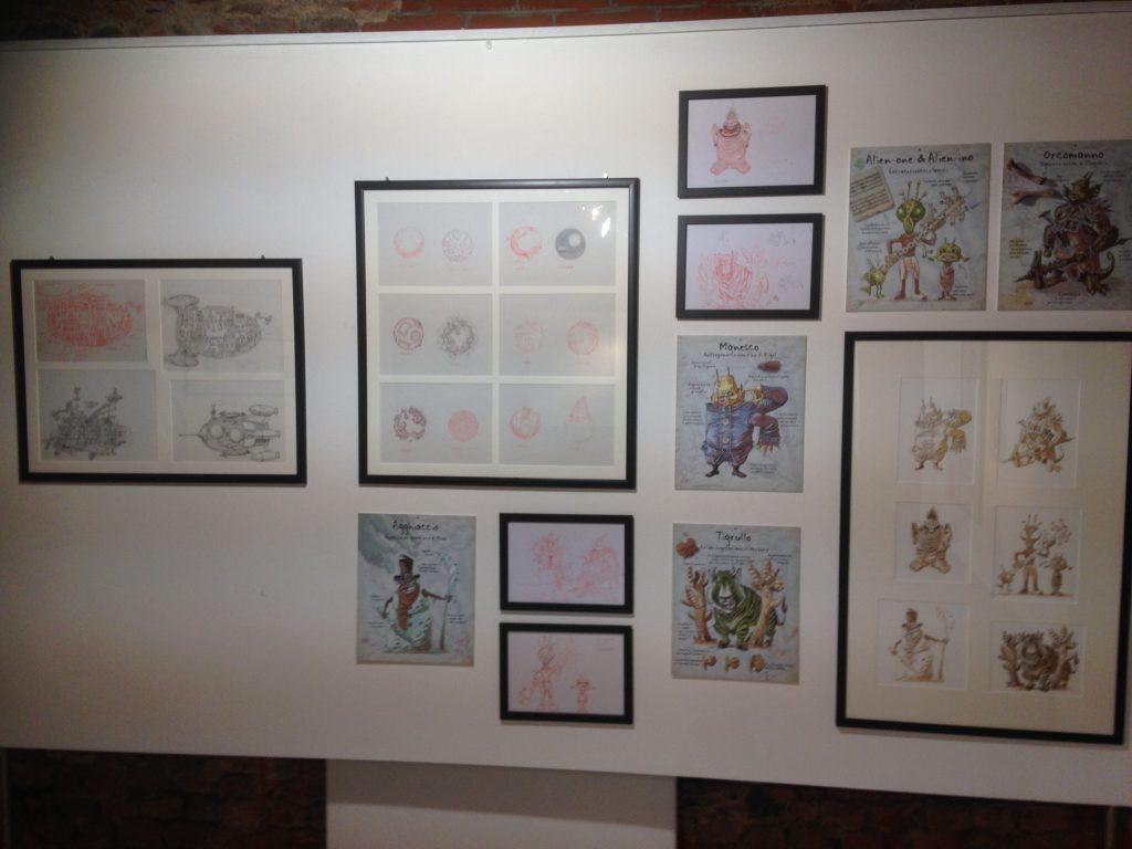Pannelli di illustrazioni fantasy/fantascienza di Giorgio Sommacal